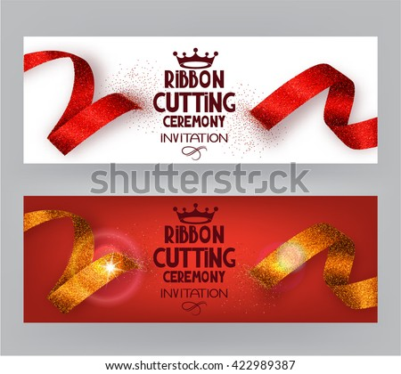 Ribbon cutting ceremony banners with abstract ribbons  and abstract hand with scissors #422989387