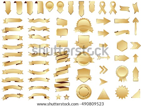 Ribbon gold vector icon on white background. Banner isolated shapes illustration of gift and accessory. Christmas sticker and decoration for app and web. Label, badge and borders collection.