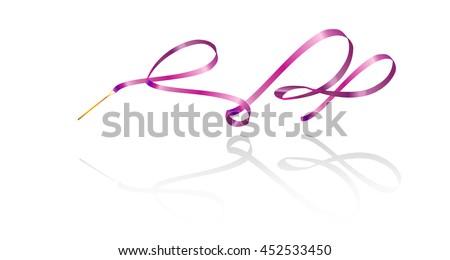 Ribbon. Gymnastic. Gymnastics ribbon. Rhythmic gymnastics ribbon, pink color with shadow, isolated on white background. Modern gymnastics Ribbon. Sport. Vector Illustration.