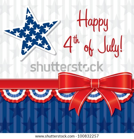 Ribbon Happy Independence Day card in vector format.