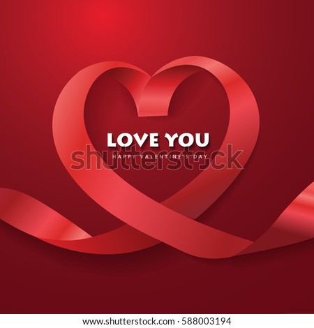 ribbon heart lovevector