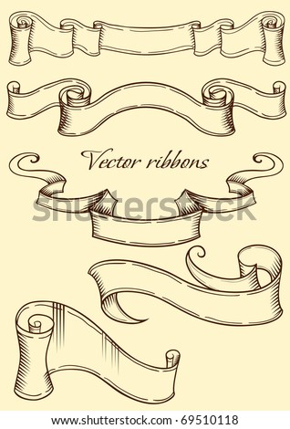 Ribbon in retro style. Vector illustration