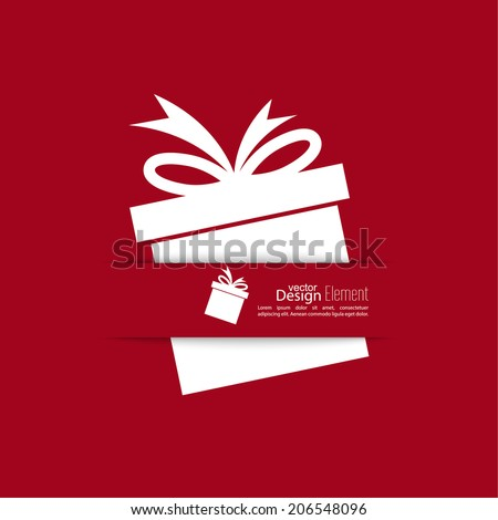 Ribbon in the form of gift  with shadow and space for text. flat design.banners, graphic or website layout  template. red
