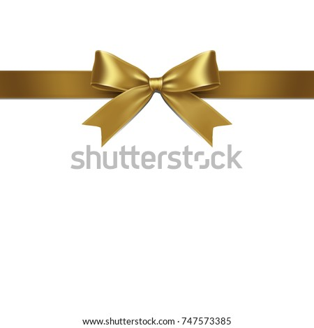 Ribbon Isolated Gold Bow on White Background. Vector Illustration of Gold Ribbon Bow. #747573385