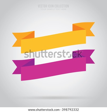Ribbon isolated vector in flat design style. Colorful abstract ribbon badge