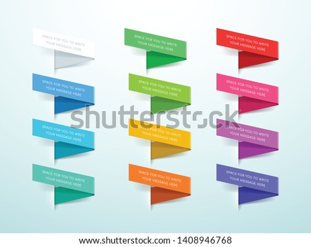 Ribbon Labels 3d Set of 12 Colors Vector