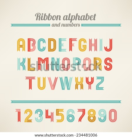 ribbon latin alphabet and