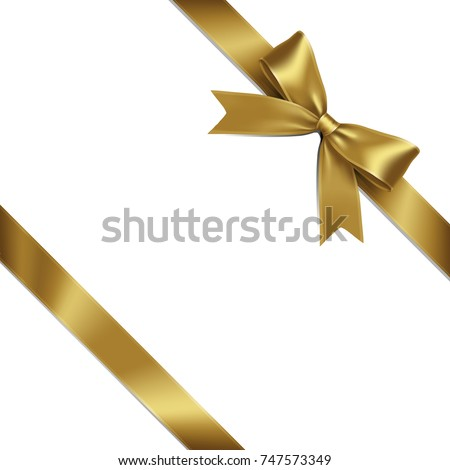 Ribbon Lean Gold Bow on White Background. Vector Illustration of Lean Gold Ribbon Bow with Greeting Gift Concept.
