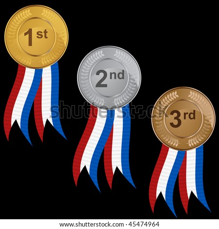 Ribbon medal set isolated on a white background.