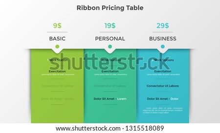 Ribbon pricing tables or subscription plans with account features information or list of included options and price. Infographic design template. Flat vector illustration for website, application. ストックフォト ©