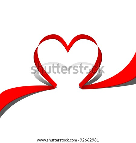 Ribbon red heart. Part of heart set. Vector art.
