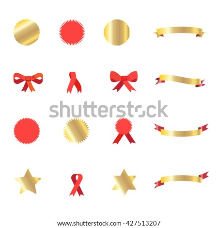 Ribbon, Red Ribbon Tie, gold stars, ribbon icon and ribbon banner set. Set of ribbons and labels in red and gold color isolated. Gold ribbon. Red ribbon. Ribbon bow tie. Vintage labels. Holiday Vector