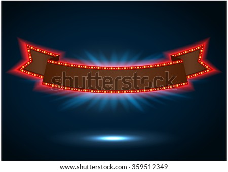 Ribbon retro background light banner with light bulbs on the contour.vector