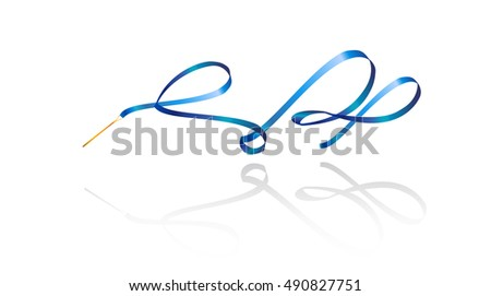 Ribbon. Ribbon Gymnastic. Gymnastic. Gymnastics Rhythmic gymnastics ribbon, blue color with shadow, isolated on white background. Modern gymnastics Sport. Modern dance 3D Vector Illustration. 2018