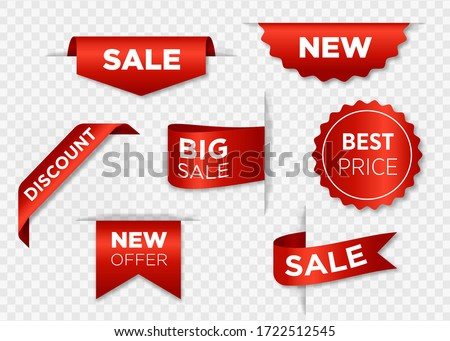 Ribbon sale badges, banners, price tags, new offers collection in red vector illustration eps 10