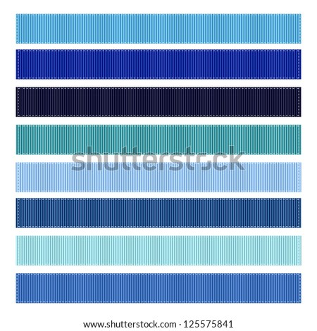 Ribbon Textures Vector Illustration, Grosgrain, Set of 8. BLUE SET #1