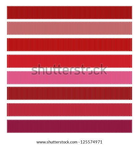 Ribbon Textures Vector Illustration, Grosgrain, Set of 8. RED SET #1