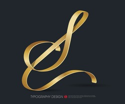 ribbon typography font logo type with Glossy gold decorative silk S letter