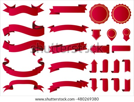 Ribbon vector icon red color on white background. Banner isolated shapes illustration of gift and accessory. Christmas sticker and decoration for app and web. Label, badge and borders collection.