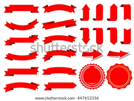 Ribbon vector icon set red color on white background. Banner isolated shapes illustration of gift and accessory. Christmas sticker and decoration for app and web. Badge and borders collection.