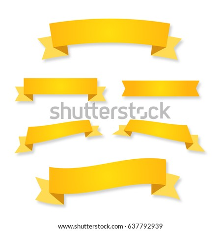 ribbon vector illustration banner set winner sticker flat yellow label background vector letter certificate diploma symbol emblem logo badge isolated tape stripe