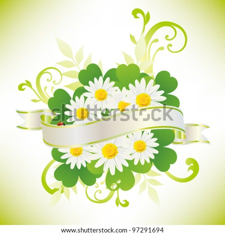 ribbon with daisy and clover