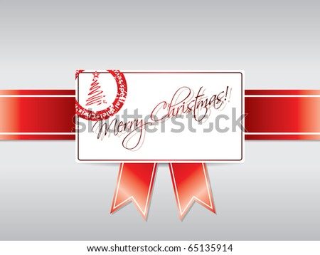 Ribbon  with stamped Christmas card