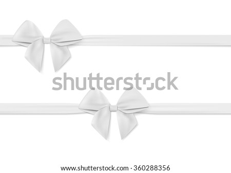 Ribbon with white bow vector. Tape. Isolated on white