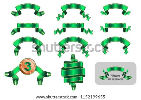 Ribbons and banners set with copy space in shape bending, wave, arc, rise. Solemn heraldic tapes with golden lines. Richly greeting design. Vector isolated realistic illustrations. Version Green A