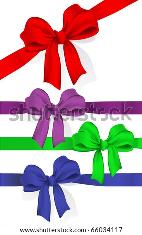 Ribbons and bows. Celebration gift vector design elements set.