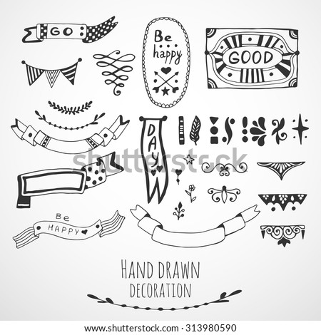 Ribbons Border And Frames Collection Cute Hand Drawn Design Elements Vector Doodle Set