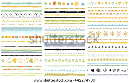 Ribbons, borders, dividers, patterns set. Hand drawn brush strokes, lines collection. Seasonal ornaments. Doodle pattern. Decorative design elements.