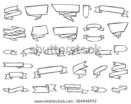 Ribbons doodle vector. Set of 28 doodle ribbons and labels. Pencil effect collection. Labels and signs. Big set of doodles. Pencil effect. Isolated on white background.