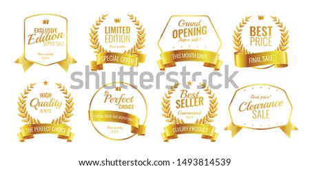 Ribbons emblems realistic set of eight isolated luxury logos with editable text captions and different shapes vector illustration