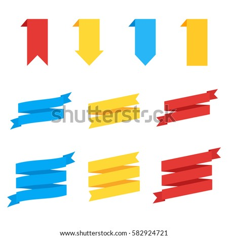 Ribbons in flat style. Flat vector ribbons banners. Vector set of colorful ribbons