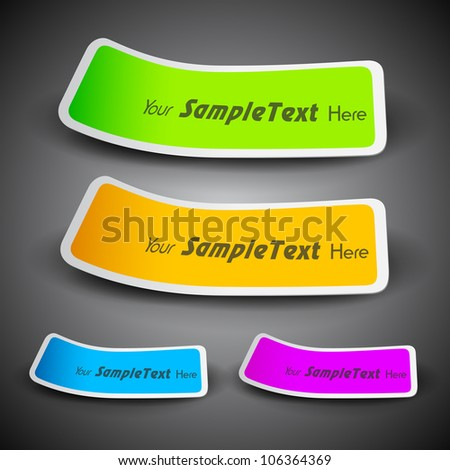 Ribbons in yellow, blue, pink and green color with text space, can be use as label, tag, bookmark or sticker. EPS 10.
