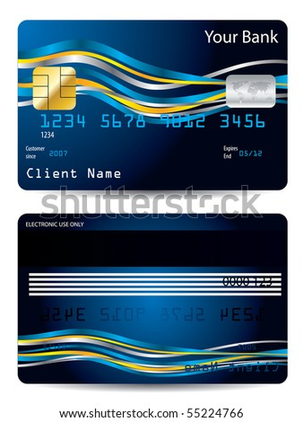 Ribbons on blue credit card
