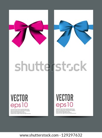 Ribbons on white paper - stock vector