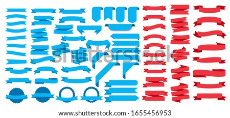 Ribbons set, on white background, Vector Illustration