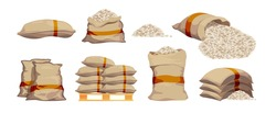 Rice bags. Pile with sackful textile objects grain agricultural collection vector sacks in cartoon style