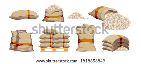 Rice bags. Pile with sackful textile objects grain agricultural collection vector sacks in cartoon style Stock photo ©