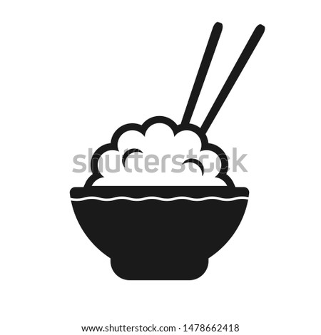 Rice bowl icon. Natural grain ingridient. Side dish, Asian cuisine  logotype. Flat vector illustration.