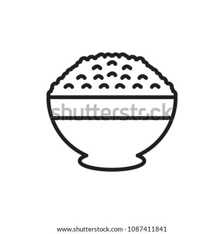 rice bowl thin line icon