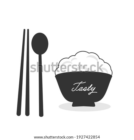 Rice bowl with chopsticks and spoon icon on white background vector illustration.  Foto stock ©