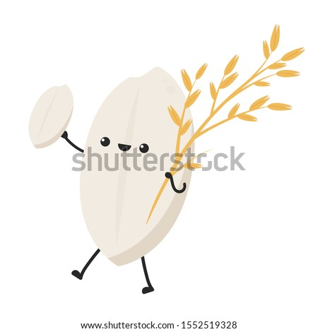 Rice character design. rice vector on white background. rice seed.