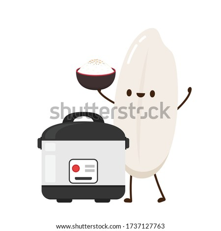 rice cooker and rice character