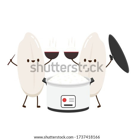 Rice cooker and Rice character design. Rice character design.