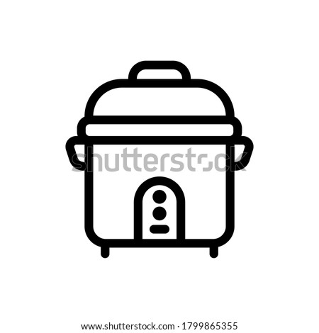 Rice Cooker (Kitchen Equipment) icon outline vector. isolated on white background Stock photo ©