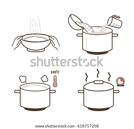 Rice cooking directions. Steps how to prepare rice. Vector illustration.