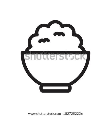 Rice in a bowl outline icon vector for graphic design, logo, web site, social media, mobile app, illustration Stock photo ©